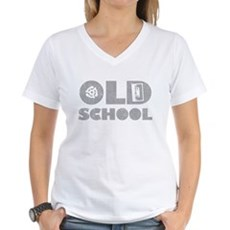 Old School (Distressed) Womens V-Neck T-Shirt