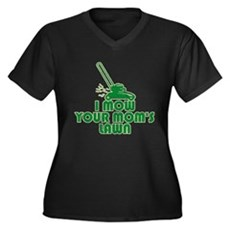 I Mow Your Mom's Lawn Womens Plus Size V-Neck Dar