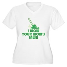 I Mow Your Mom's Lawn Womens Plus Size V-Neck T-S