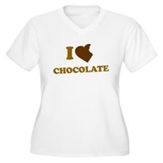 I Love [Heart] Chocolate Womens Plus Size V-Neck