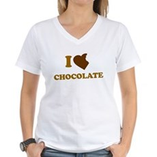 I Love [Heart] Chocolate Womens V-Neck T-Shirt