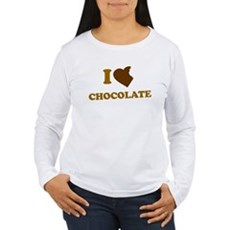 I Love [Heart] Chocolate Womens Long Sleeve T-Shi