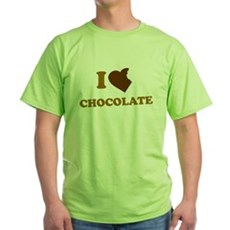 I Love [Heart] Chocolate Green T-Shirt