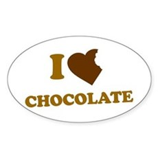 I Love [Heart] Chocolate Oval Sticker