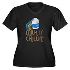 Milk is Chillin' Womens Plus Size V-Neck Dark T-S