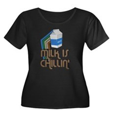 Milk is Chillin' Womens Plus Size Scoop Neck Dark