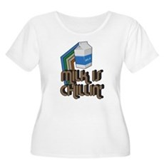 Milk is Chillin' Womens Plus Size Scoop Neck T-Sh