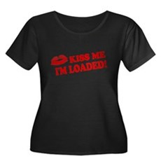 Kiss Me, I'm Loaded! Womens Plus Size Scoop Neck