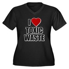 I Love [Heart] Toxic Waste Womens Plus Size V-Nec