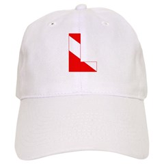http://i2.cpcache.com/product/189274629/scuba_flag_letter_l_baseball_cap.jpg?color=White&height=240&width=240