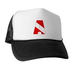 http://i2.cpcache.com/product/189285231/scuba_flag_letter_a_trucker_hat.jpg?color=BlackWhite&height=240&width=240