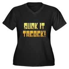 Suck it Trebek! Womens Plus Size V-Neck Dark T-Sh