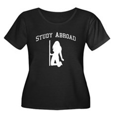 Study Abroad Womens Plus Size Scoop Neck Dark T-S