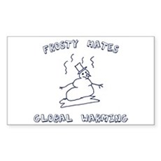 Frosty Hates Global Warming Rectangle Sticker
