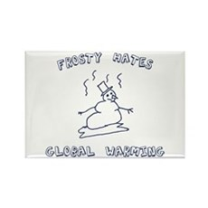 Frosty Hates Global Warming Rectangle Magnet