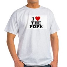 I Love [heart] the Pope Ash Grey T-Shirt