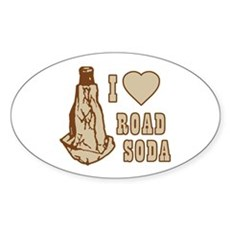 I Love Road Soda Oval Sticker
