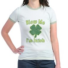 Blow Me I'm Irish Jr Ringer T-Shirt
