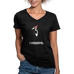 Simple IBWO: I Believe Women's V-Neck Dark T-Shirt