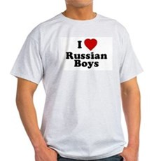 I Love Russian Boys Ash Grey T-Shirt