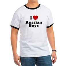 I Love Russian Boys Ringer T