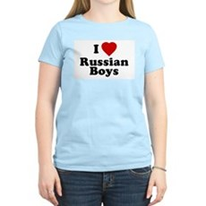 I Love Russian Boys Womens Pink T-Shirt