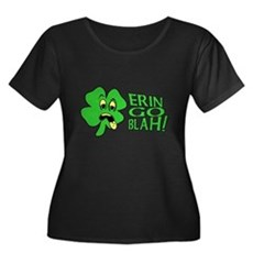Erin Go Blah! Womens Plus Size Scoop Neck Dark T-
