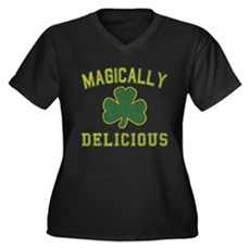 Magically Delicious Womens Plus Size V-Neck Dark