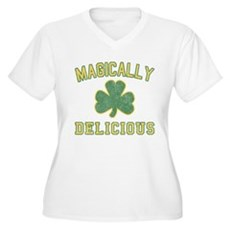Magically Delicious Womens Plus Size V-Neck T-Shi