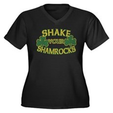 Shake Your Shamrocks Womens Plus Size V-Neck Dark