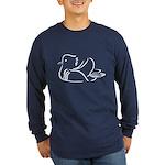 Stylized Mandarin Duck Long Sleeve Dark T-Shirt