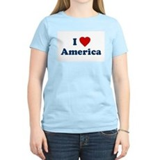 I Love [Heart] America Womens Pink T-Shirt