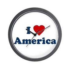 I Love [Heart] America Wall Clock