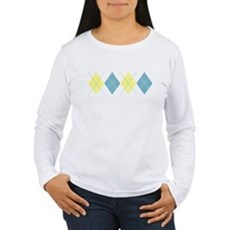 Argyle Business Casual Womens Long Sleeve T-Shirt