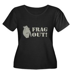 Frag Out! Womens Plus Size Scoop Neck Dark T-Shir