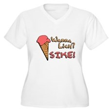 Wanna Lick? Plus Size V-Neck Shirt
