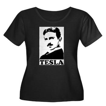 Tesla Women's Plus Size Scoop Neck Dark T-Shirt   Gifts For A Geek   Geek T-Shirts