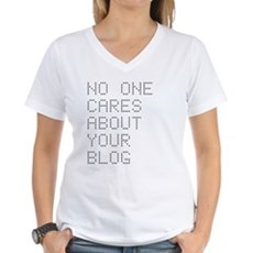 No One Cares About Your Blog Womens V-Neck T-Shir