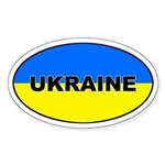 Ukraine Flag Oval Sticker