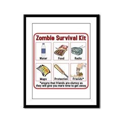 Zombie Survival Kit Framed Panel Print