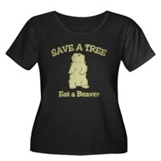 Save a Tree, Eat a Beaver Womens Plus Size Scoop