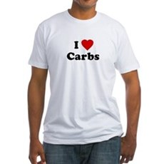 I Love [Heart] Carbs Fitted T-Shirt