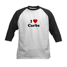 I Love [Heart] Carbs Kids Baseball Jersey