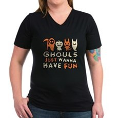 Ghouls Just Wanna Have Fun Womens V-Neck Dark T-S