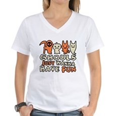 Ghouls Just Wanna Have Fun Womens V-Neck T-Shirt