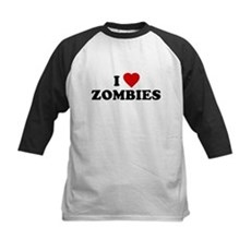 I Love [Heart] Zombies Kids Baseball Jersey