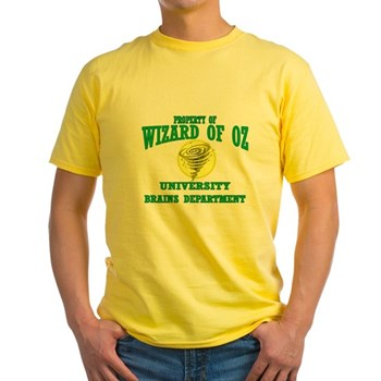 Property of Brains Logo Yellow T-Shirt | Wonderful Wizard of Oz Clothing | Wizard of Oz T-Shirts