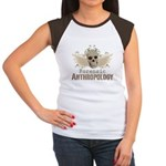 Forensic Anthropology Women's Cap Sleeve T-Shirt - A paint spattered grunge skull with wings and floral design in khaki, olive and brown hues. Forensic anthropology apparel and gifts for a forensic anthropologist, scientist, student, teacher or grad. - Availble Sizes:S (4-6),M (8-10),L (12-14),XL (16-18),XXL (20-22) (+$3.00) - Availble Colors: Black/White,Red/White,Brown/White