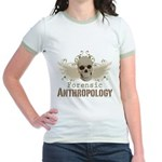 Forensic Anthropology Jr. Ringer T-Shirt - A paint spattered grunge skull with wings and floral design in khaki, olive and brown hues. Forensic anthropology apparel and gifts for a forensic anthropologist, scientist, student, teacher or grad. - Availble Sizes:Small,Medium,Large,X-Large - Availble Colors: Pink/Salmon,Mint/Avocado,Navy/White