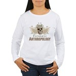 Forensic Anthropology Women's Long Sleeve T-Shirt - A paint spattered grunge skull with wings and floral design in khaki, olive and brown hues. Forensic anthropology apparel and gifts for a forensic anthropologist, scientist, student, teacher or grad. - Availble Sizes:Small,Medium,Large,X-Large,2X-Large (+$3.00) - Availble Colors: White